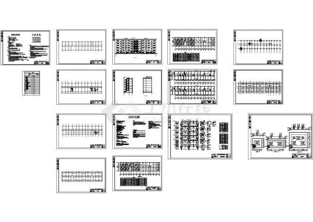 3000平方米某六层框架结构住宅楼建筑施工cad图(含计算书,毕业设计)-图二