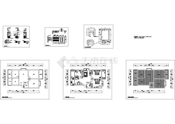 长14.93米 宽7.98米 现代风格装修方案【原始结构 平面布置 地面材质结构 室内立面 5张JPG室内效果图】.cad施工图设计-图一