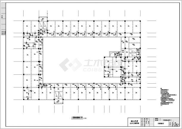 某框架结构六层商业办公楼毕业设计cad结构施工图(含设计说明,含建筑设计,含计算书、实习报告)-图一