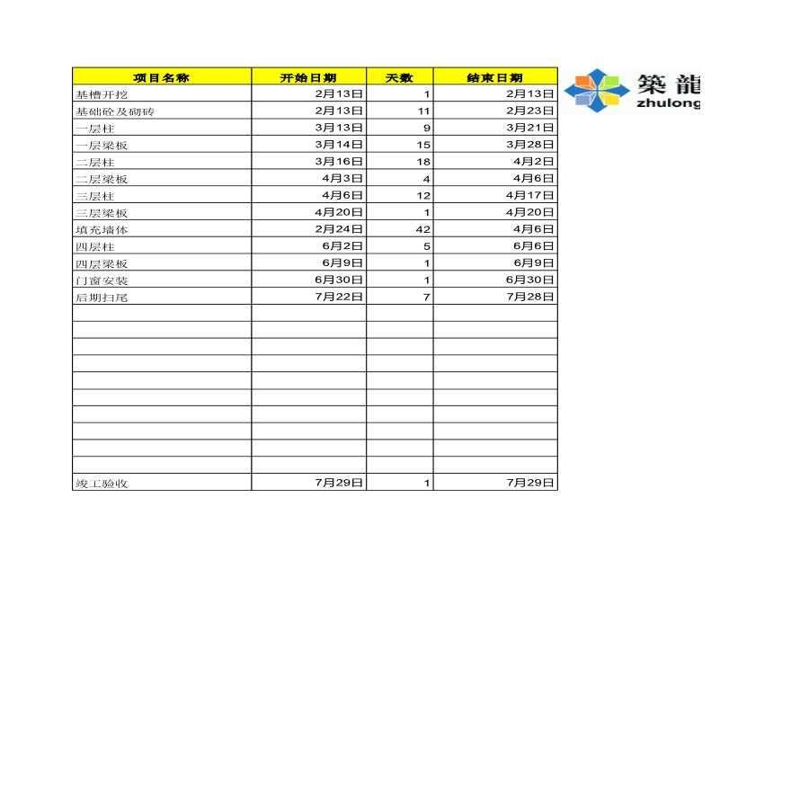 Excel自动生成—施工进度详细计划表-图一
