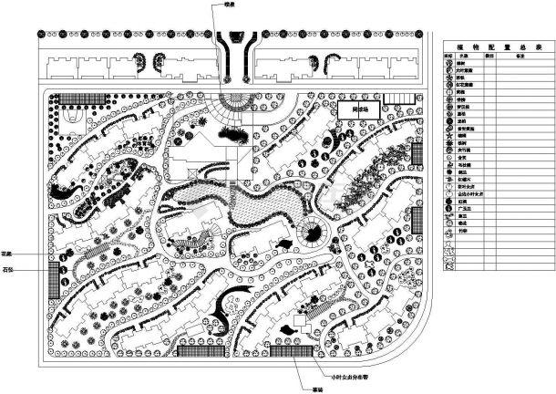 某地区花园小区植物配置总规划设计施工详细方案CAD图纸-图一