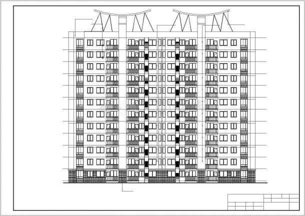 【某地】11层板式住宅楼建筑全套cad图,含效果图-图二