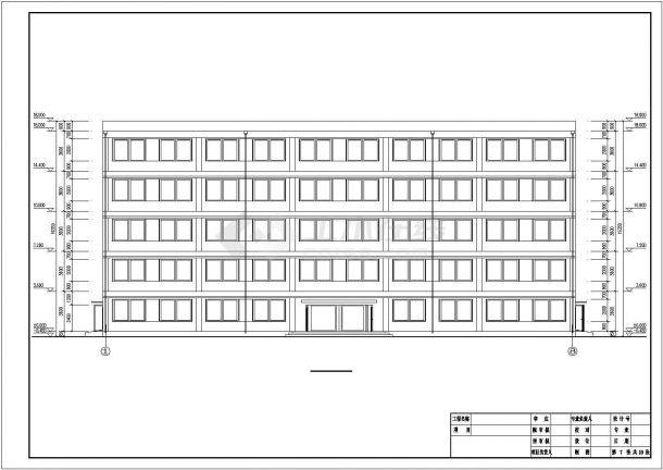 镇江某商业街3000平米五层框架结构商业办公楼建筑+结构设计CAD图纸-图一