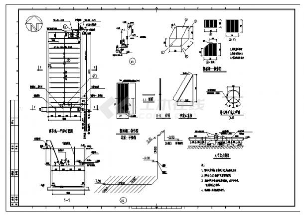[山東]某礦井水回用及污水處理工藝施工cad圖,共十六張-圖二