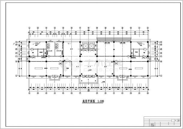 商务中心六层混凝土框架结构设计方案图-图二