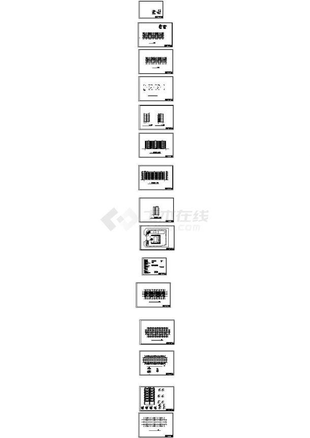 3547平米某六层框架结构住宅楼建施cad图(含计算书,毕业设计)-图二