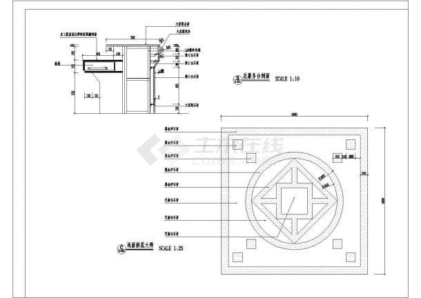 商业银行分行营业厅装修施工CAD图-图一