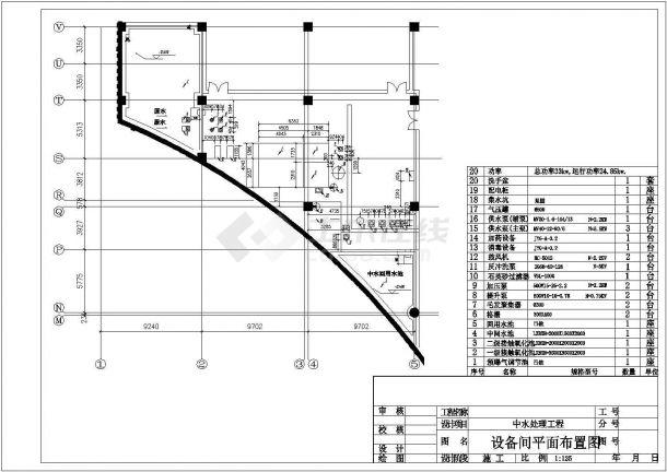北京某商业中心中水处理工程设计cad全套工艺施工图纸-图一