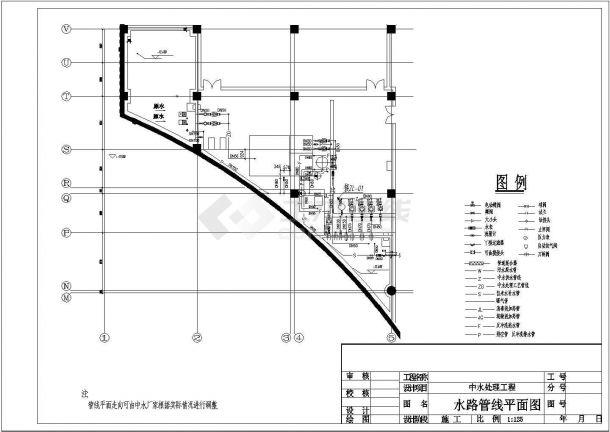 北京某商业中心中水处理工程设计cad全套工艺施工图纸-图二