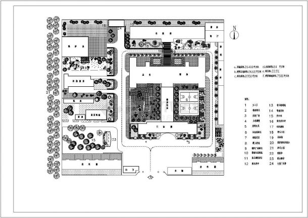 医院设计_2万平米某医院绿化规划设计cad图(含平面图)-图一