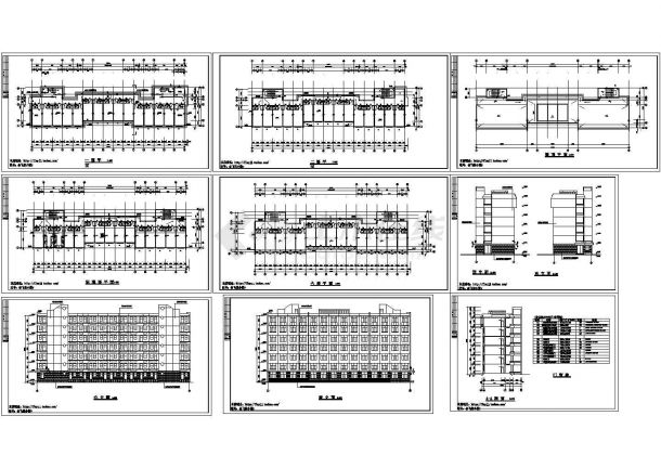 6层学生宿舍楼建筑设计图【平立剖 门窗表】-图二