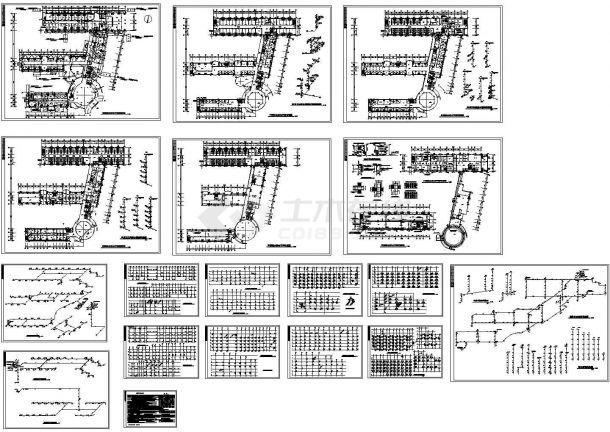 六层山字形综合楼给排水设计cad施工图-图一