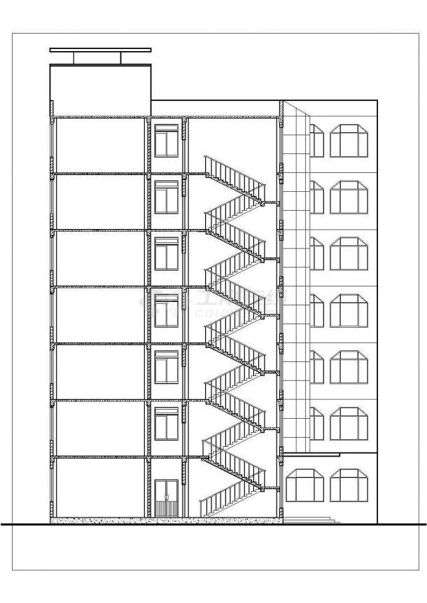办公楼设计_某七层砖混结构办公楼建筑cad图纸-图二