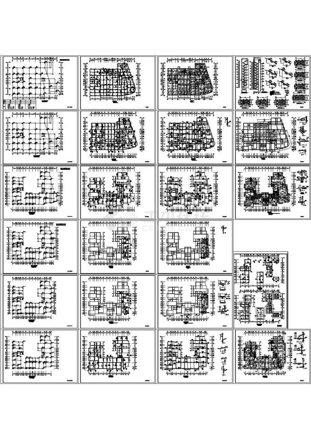 某8层异形柱框架结构住宅楼设计cad全套结构施工图【标注详细,23张图】-图二