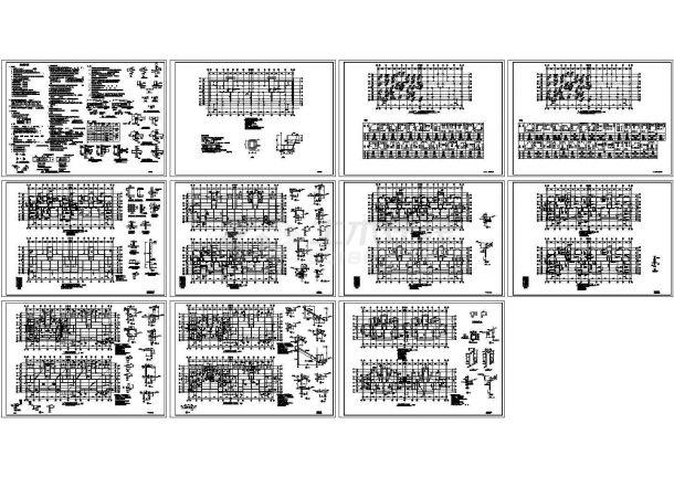 某-1+7+1阁楼层异形柱框架结构住宅楼设计cad全套结构施工图(含设计说明)-图二