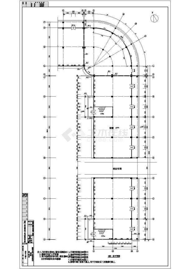 中亚工业城某多层框架结构宿舍楼设计cad全套建筑施工图(含设计说明,带效果图)-图二