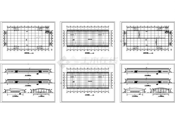 某市单层工业厂房车间建筑设计施工图-图一