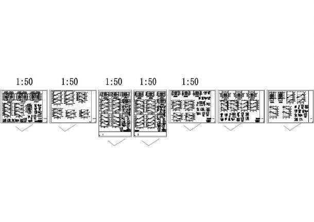 常见钢结构楼梯做法设计cad施工详图(含复杂带混凝土柱子楼梯详图)-图二