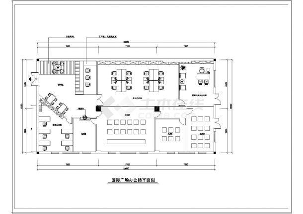 办公楼设计_国际广场办公楼室内装修cad平面施工图纸-图二