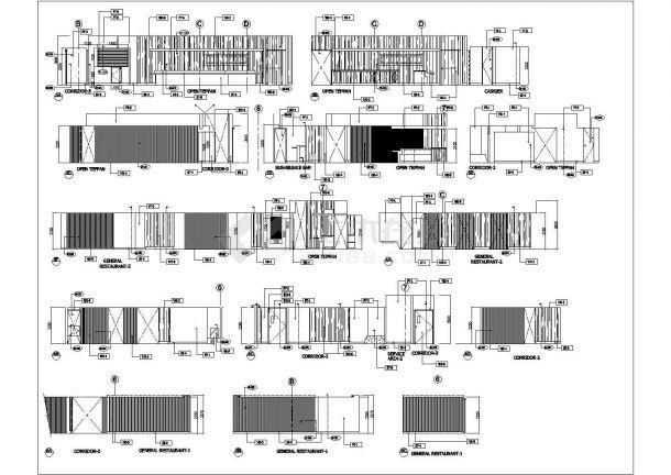 香港喜来登酒店云海日本餐厅室内装修设计cad详细施工图(含空调设计,含消防设计,含水电设计)-图二