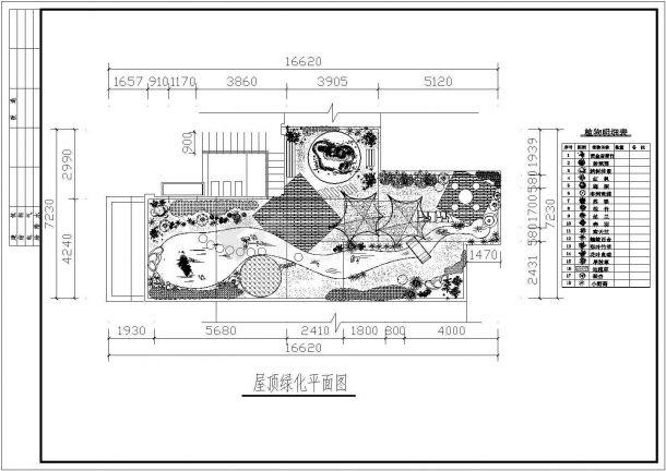 某高档住宅楼屋顶花园绿化设计cad平面施工图-图二