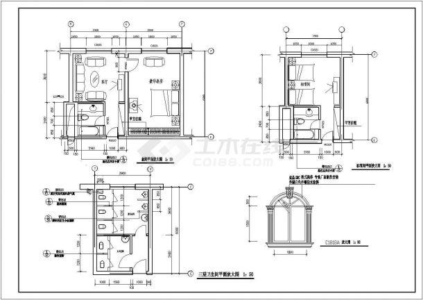 某多层框架结构渡假村酒店设计cad详细建筑施工图纸( 含设计说明)-图二