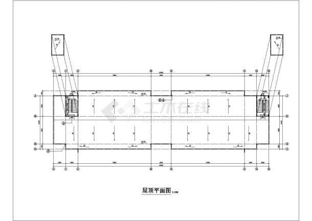 xx工厂3650平米6层框架结构宿舍楼平立剖面设计CAD图纸(1-2层商用)-图一