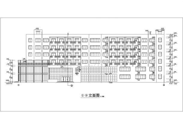 xx工厂3650平米6层框架结构宿舍楼平立剖面设计CAD图纸(1-2层商用)-图二