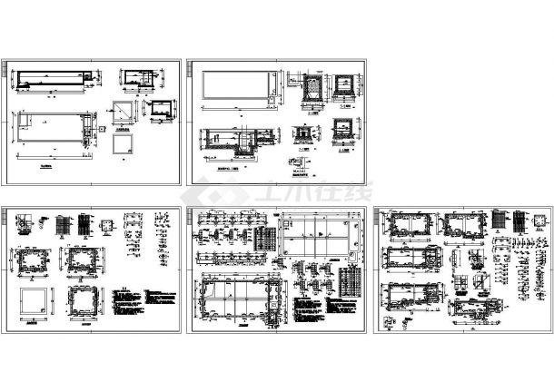 某水处理厂污水调节池设计cad全套工艺施工图(含设计说明,含建筑、结构设计)-图一