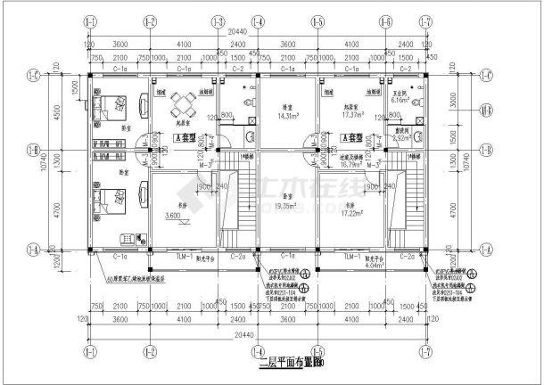 某二层砖混结构新风尚别墅设计cad建筑方案图(带效果图)-图二
