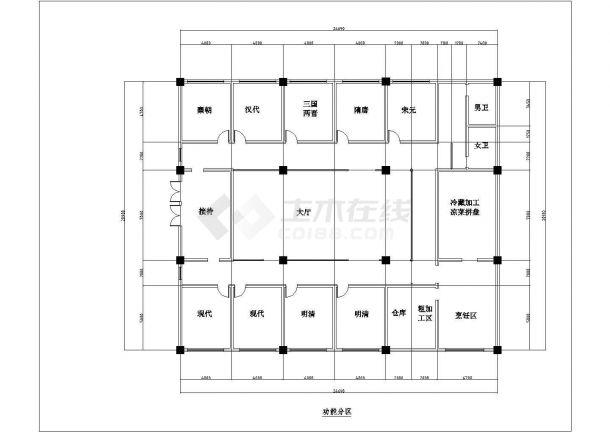 某中式古典风格餐厅室内装修设计cad全套施工图(附效果图)-图二