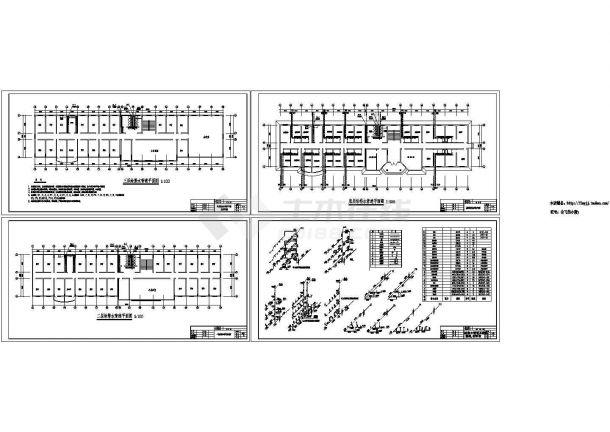 某三层小型官兵宿舍办公楼给排水设计cad施工图(标注详细)-图一
