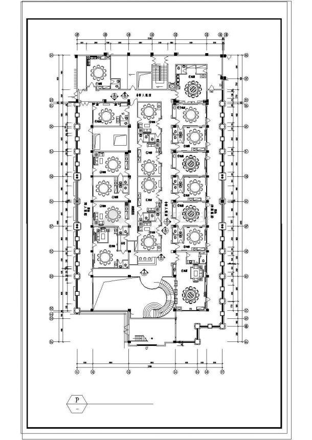 某大型酒店中餐厅装修cad施工图纸-图二