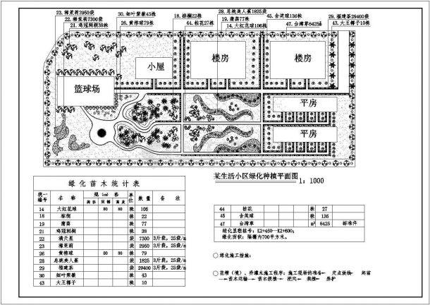 某车站生活小区绿化种植平面图纸设计dwg-图一
