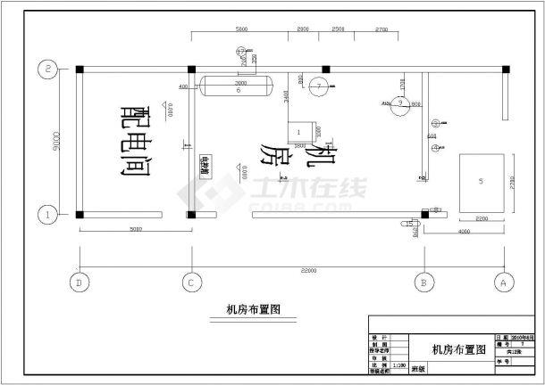 [学士]广州某200吨低温冷藏库制冷系统cad图纸(含设备安装图,设备明细表)-图二