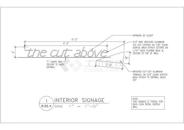 某现代美容美发厅室内装修设计cad全套施工图纸( 英文标注)-图二