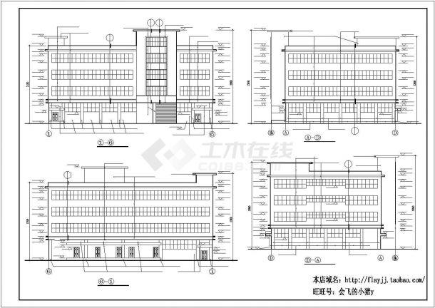 厂房设计_长44.8米 宽34米 4层厂房建筑施工图【平立剖 窗大样】CAD设计施工图纸-图二