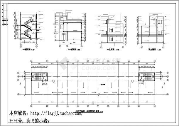 厂房设计_3层726平米框架结构木业公司厂房建筑施工图【平立剖 总平 卫详 说明】CAD设计施工图纸-图二