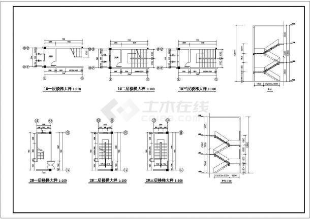 厂房设计_3层厂房建筑施工图【平立剖 楼梯大样 卫详】CAD设计施工图纸-图一