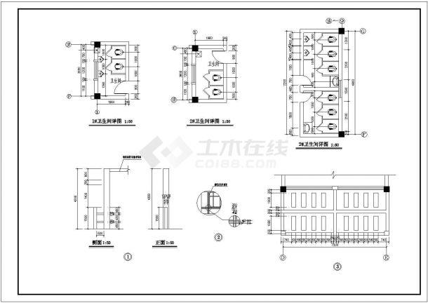 厂房设计_3层厂房建筑施工图【平立剖 楼梯大样 卫详】CAD设计施工图纸-图二