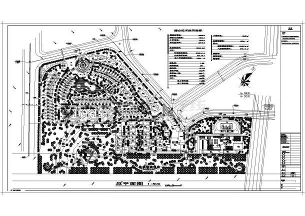 某城市住宅及教学综合景观设计规划cad图纸及经济技术指标-图一