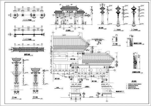 某市古牌楼(狮子楼)建筑设计方案图-图二