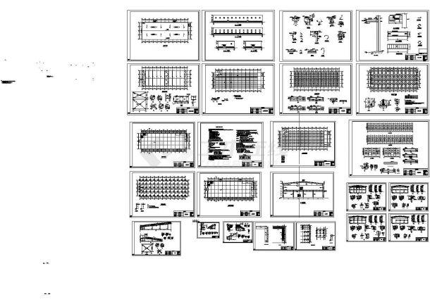 2层3496平米门式刚架钢结构公司仓库建施结施设计cad图纸,共二十四张-图一