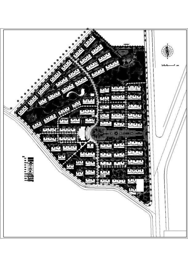 某不规则地块优秀住宅小区规划设计cad总平面方案图(甲级院设计)-图一