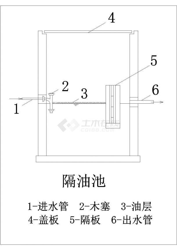 某地区油品制造厂废水处理工程工艺流程施工CAD图-图二