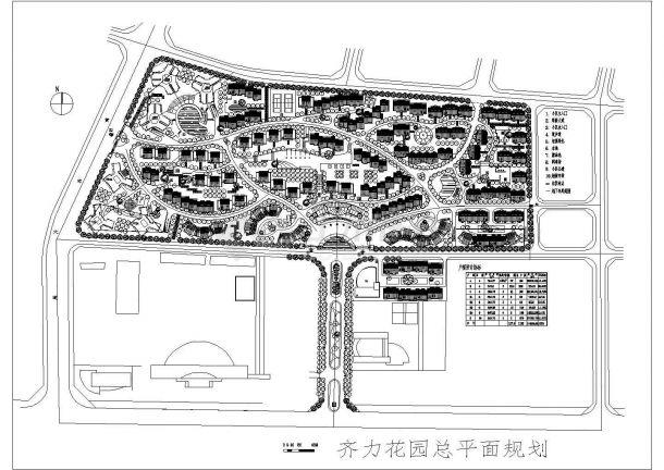 齐力花园住宅小区总平面规划设计cad方案图(含户型经济技术指标)-图一