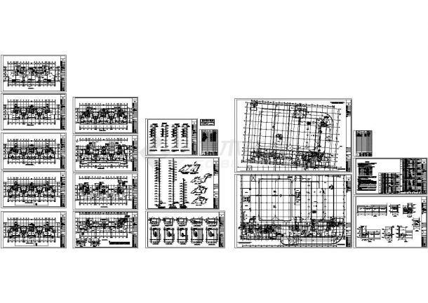 十四层商住楼及车库采暖通风设计cad图,共十四张-图一