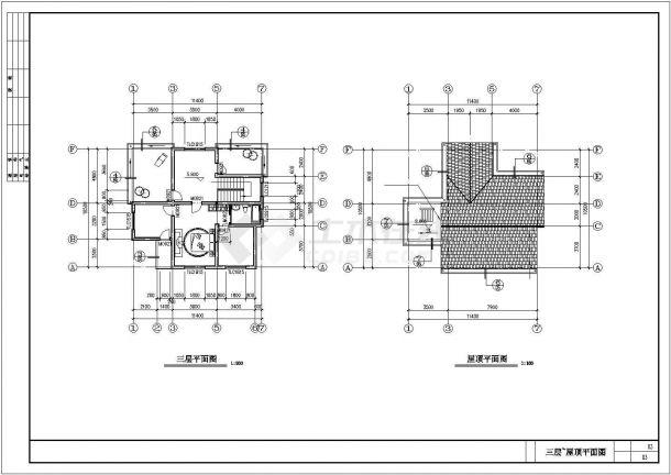 330平米3层砖混结构独栋乡村别墅建筑结构设计CAD图纸-图一