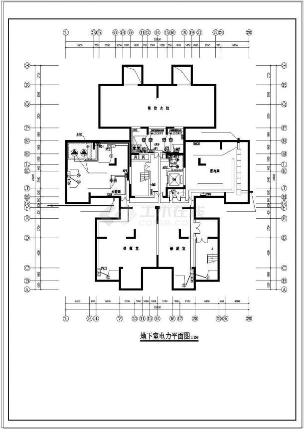 办公楼设计_某18层综合办公楼电气施工cad设计图纸-图二