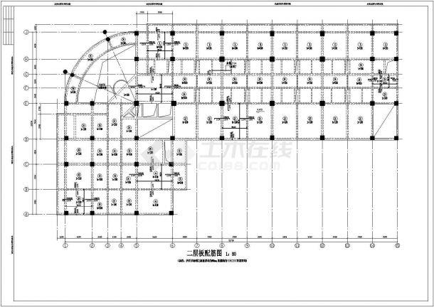 办公综合楼框架结构设计施工CAD图-图一